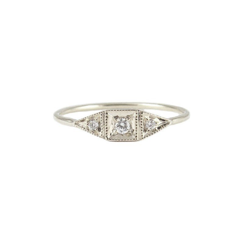 Jennie Kwon Mini Deco Point Ring - White Gold