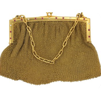 Diamond & Ruby 9k Yellow Gold Clutch