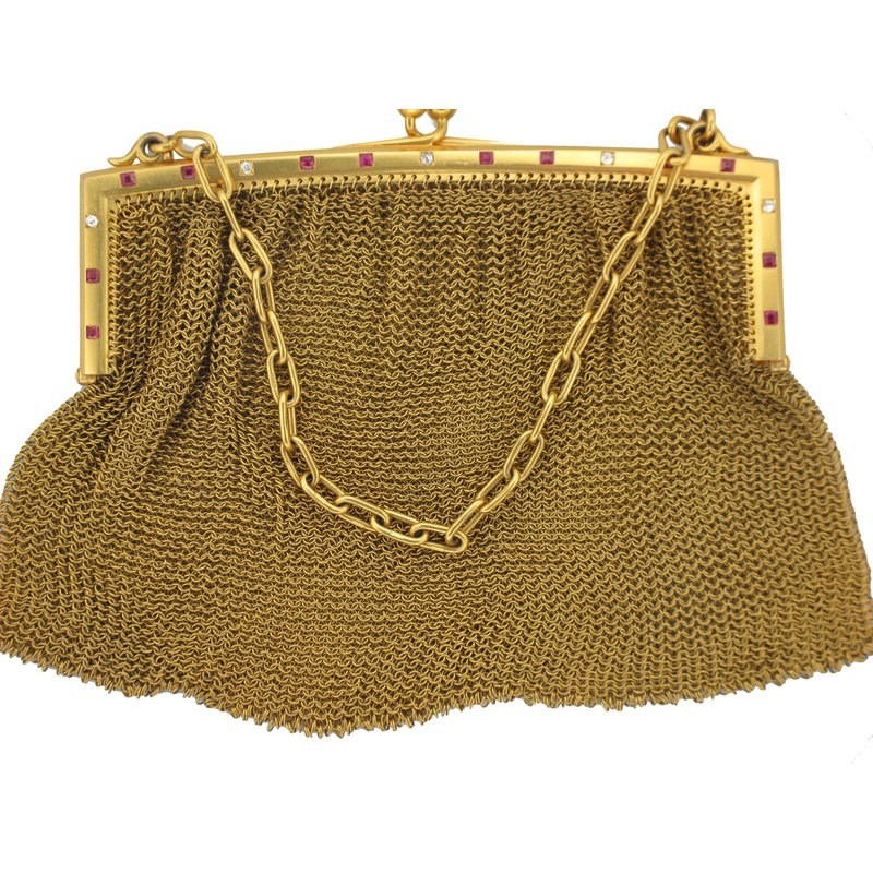 Antique, Estate & Consignment Diamond & Ruby 9k Yellow Gold Clutch