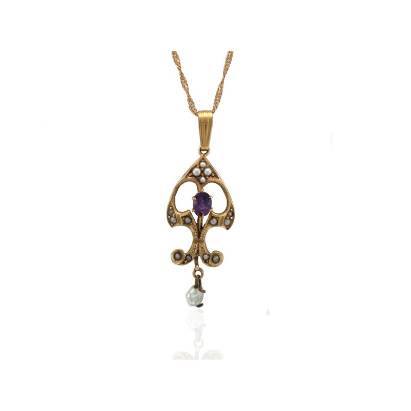 Antique, Estate & Consignment Amethyst & Seed Pearl Lavalier Necklace
