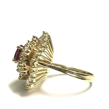 Oval Ruby & Diamond Ballerina Ring