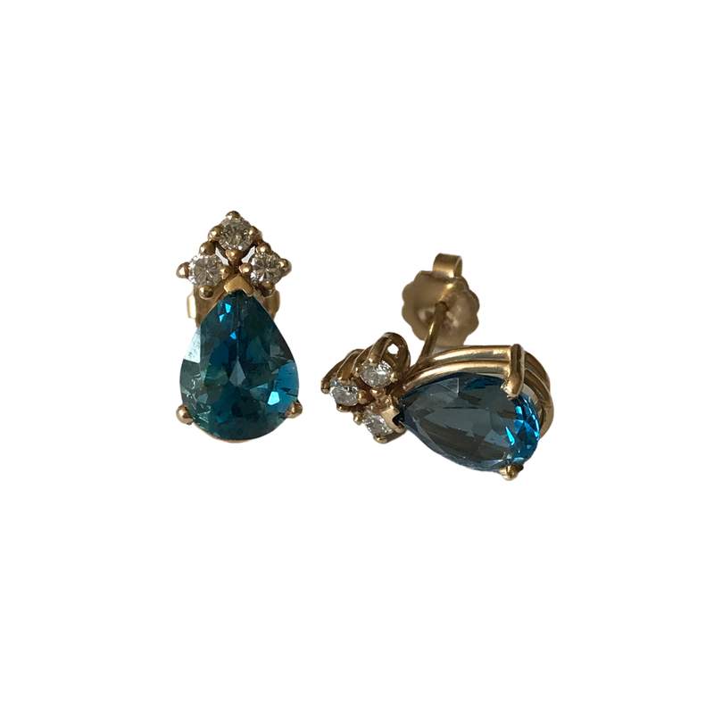 Antique, Estate & Consignment Blue Topaz & Diamond Accent Earrings