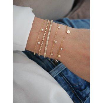 Diamond 5 Bezel Chain Bracelet