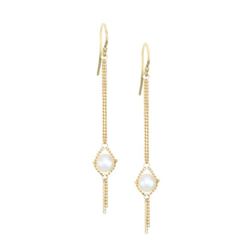 Pearl Textile Chain Link Earrings