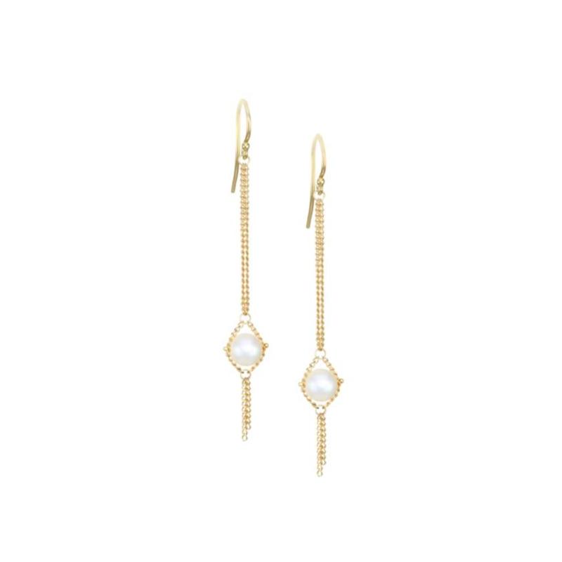 Amali Pearl Textile Chain Link Earrings
