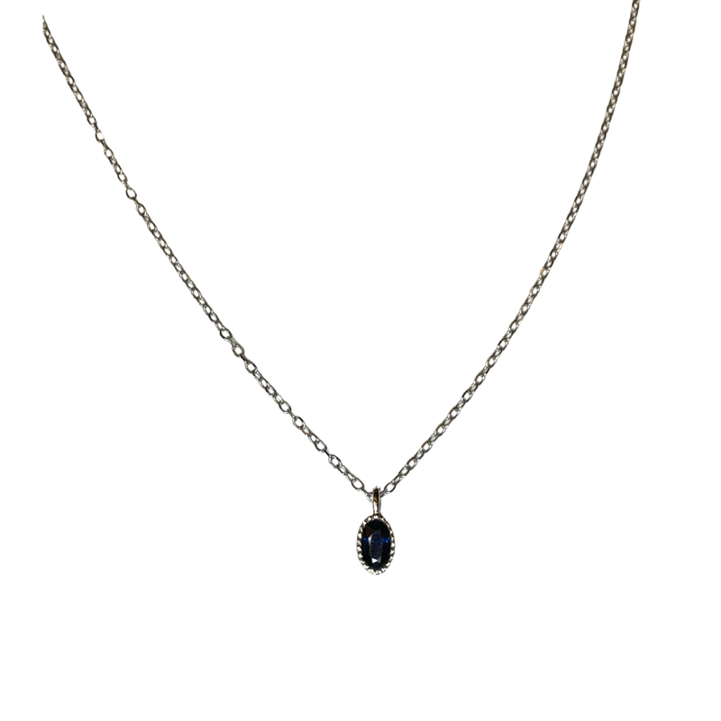 Jennie Kwon Oval Blue Sapphire Wisp Necklace