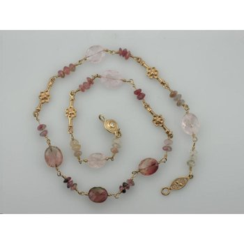 Pink Tourmaline Beaded Necklace