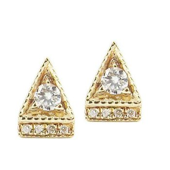 Diamond Deco Point Triangle Stud Earrings
