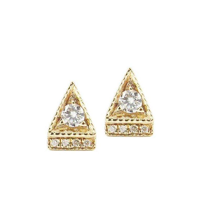 Jennie Kwon Diamond Deco Point Triangle Stud Earrings
