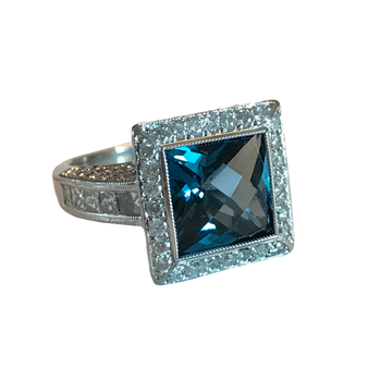 Platinum Blue Topaz & Diamond Ring