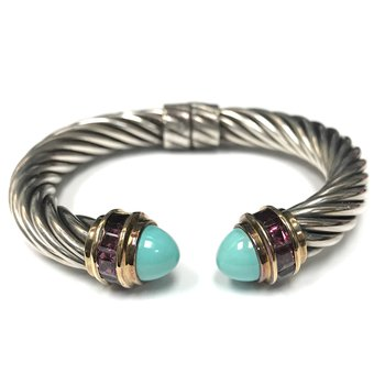 David Yurman Cable Tourmaline & Turquoise Cuff