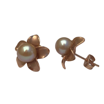 Golden Pearl Flower Earrings