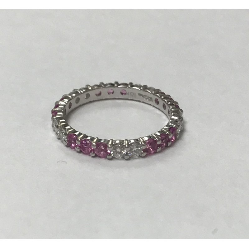 Antique, Estate & Consignment Pink Sapphire & Diamond Eternity Ring