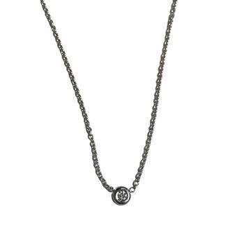 Bezel Set 0.06 Carat Diamond Necklace