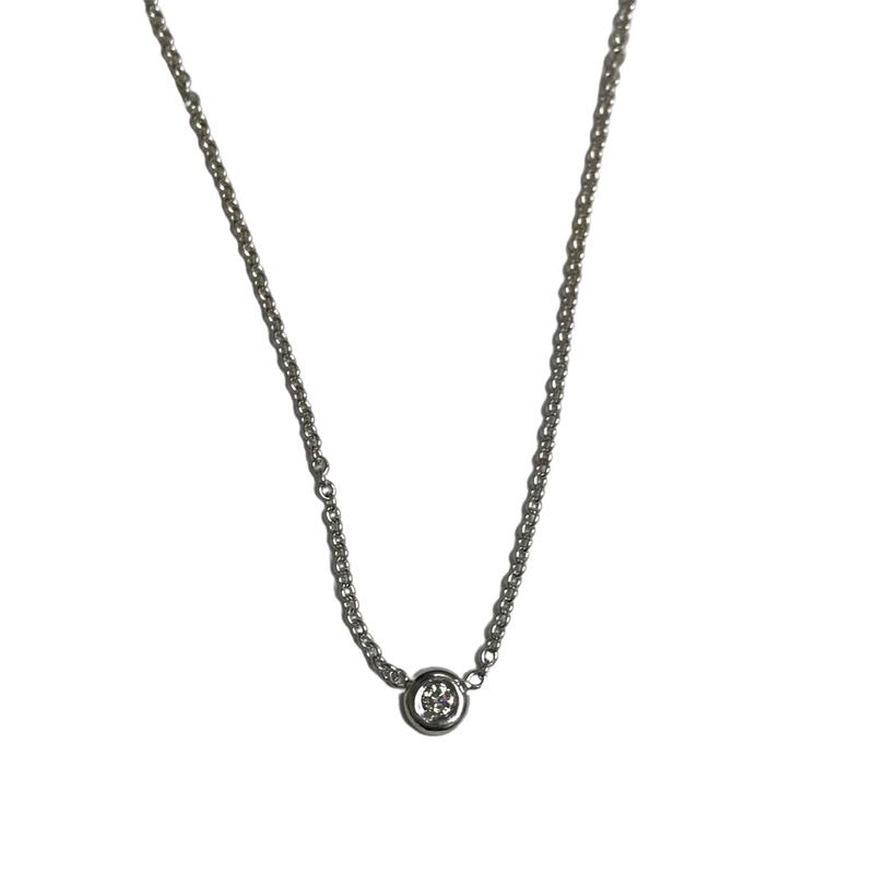 Antique, Estate & Consignment Bezel Set 0.06 Carat Diamond Necklace