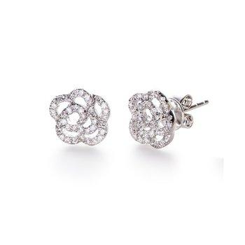 Diamond Rose Stud Earring