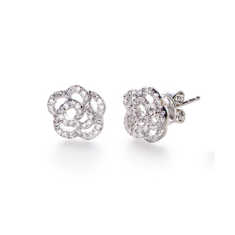 EF Collection Diamond Rose Stud Earring