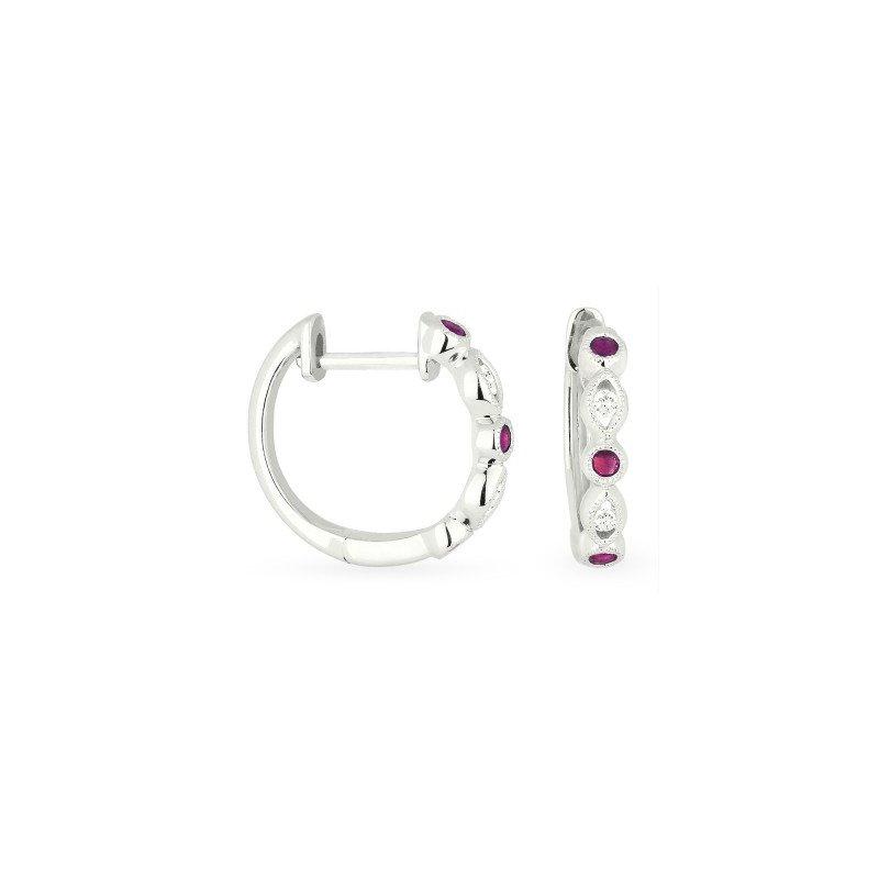 Madison L Ruby & Diamond Huggie Earrings