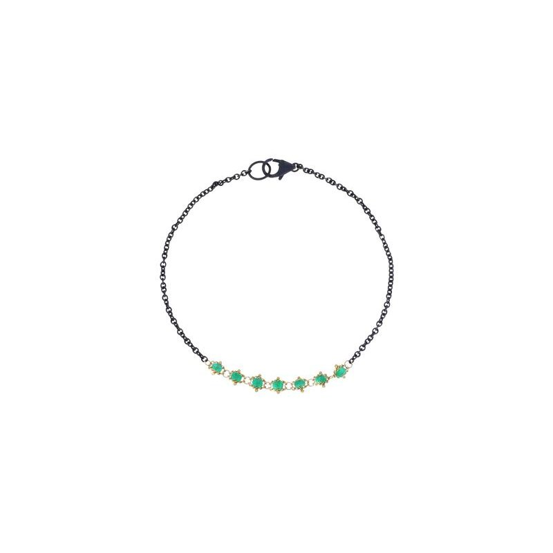 Amali Textile Emerald Station Bracelet