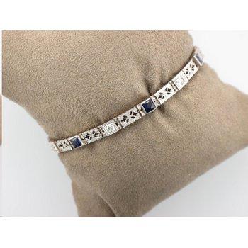Vintage Synthetic Sapphire & Diamond Bracelet