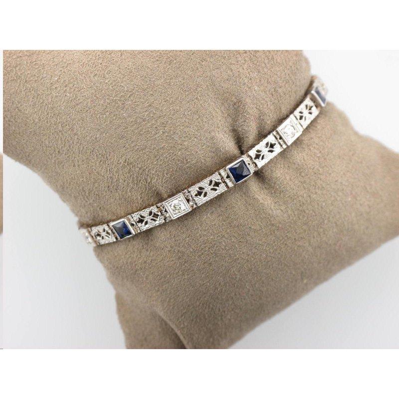 Antique, Estate & Consignment Vintage Synthetic Sapphire & Diamond Bracelet