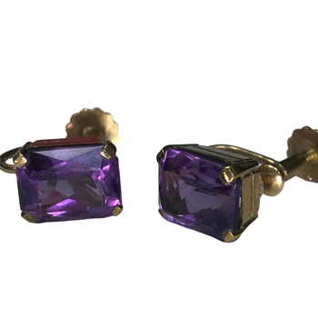 Non-Pierced Amethyst Earrings