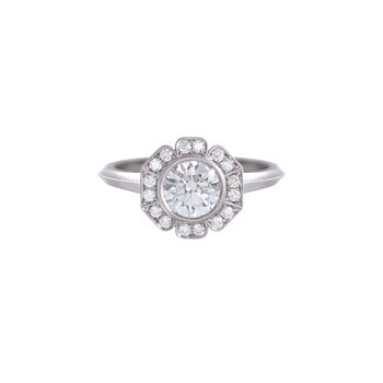 Platinum Caroline Halo Solitaire Engagement Ring
