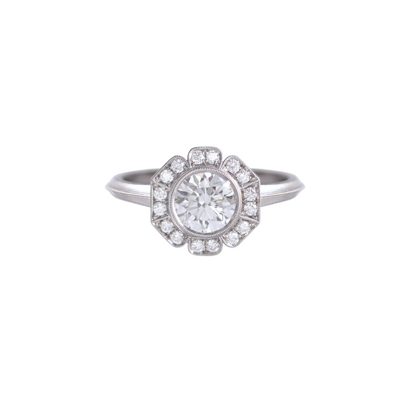 Erika Winters Platinum Caroline Halo Solitaire Engagement Ring