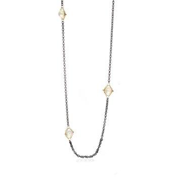 """Opal Textile Section Necklace 24"""""""