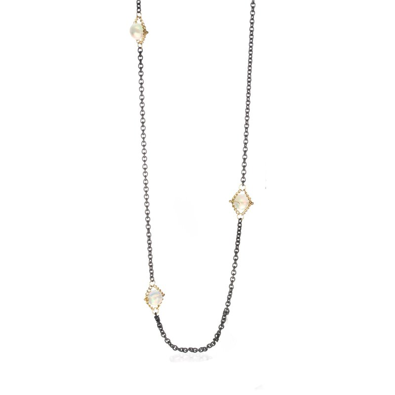Amali Opal Textile Section Necklace 24""