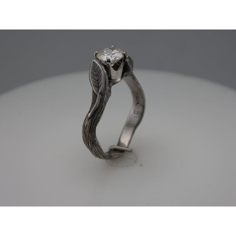Hurdle's Custom Designs Leaf Diamond Engagement Ring