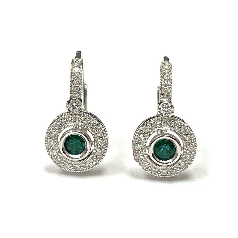 Beverley K 18k White Gold and Emerald Earrings