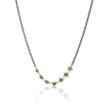 Textile Centered Blue Diamond Station Necklace