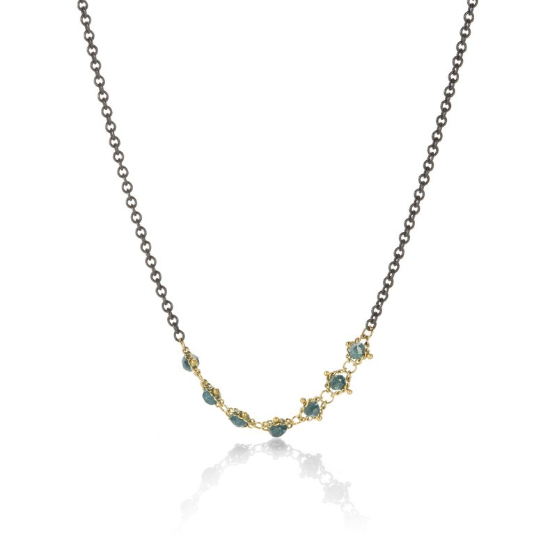 Amali Textile Centered Blue Diamond Station Necklace