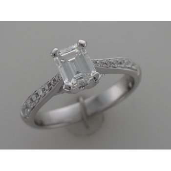 Emerald Cut Engagement Ring R2542/E1