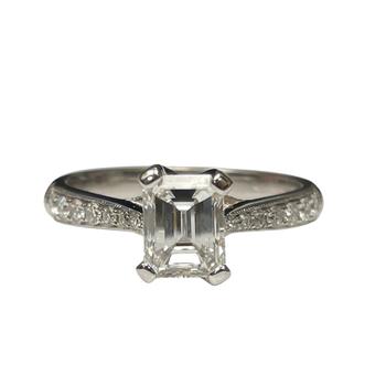 Emerald Cut Engagement Ring R2542/E1