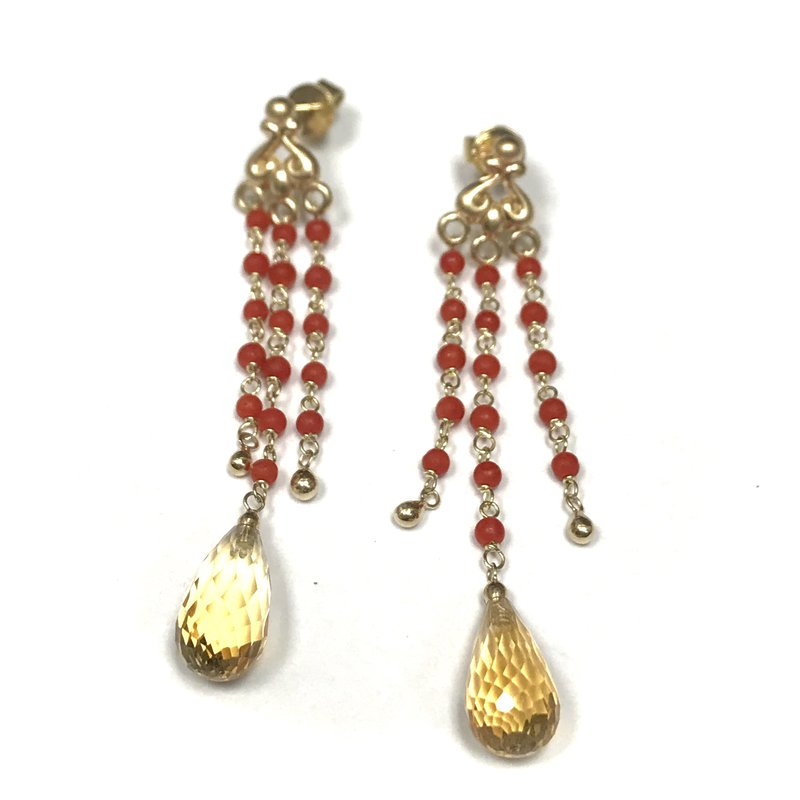 Hurdle's Jewelry Collection Coral & Citrine Drop Earrings