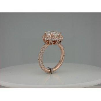 Pink Gold Pave Diamond Ring