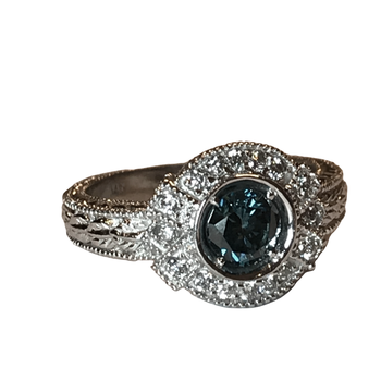 Blue Diamond Engraved Ring