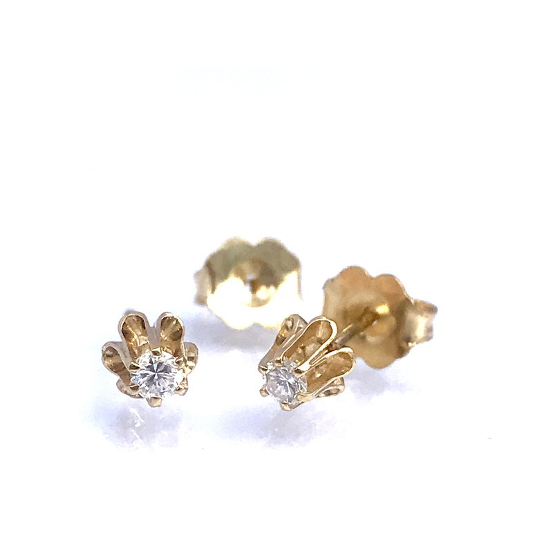 Antique, Estate & Consignment 0.10 Buttercup Diamond Stud Earrings