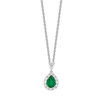 Emerald & Diamond Pear Shape Necklace