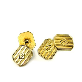 14k Engraved Cuff Links