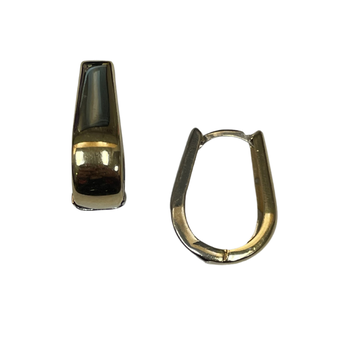 14k Two Tone Oval Huggie Earrings