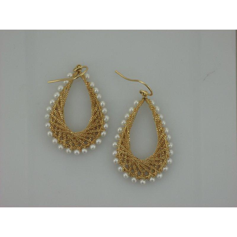 Amali Woven Teardrop Earrings in Pearl