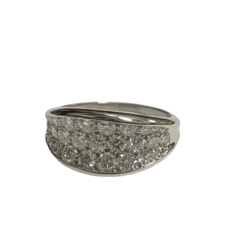 Triple Row Diamond Concave Ring