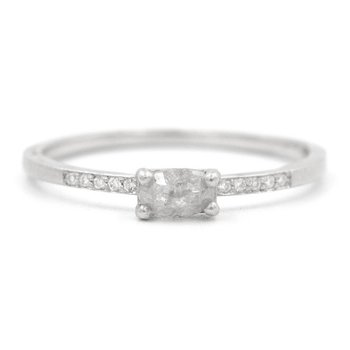 Stacking Oval Opaque Rose Cut Diamond Ring
