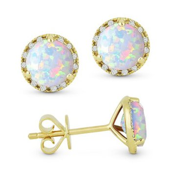 Opal & Diamond Stud Earrings