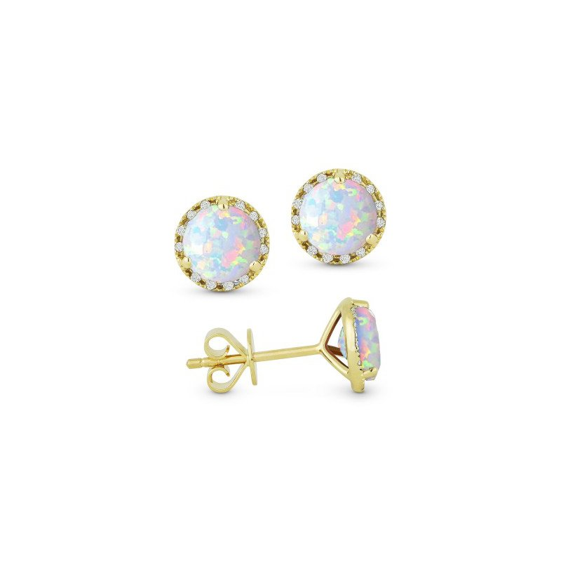 Madison L Opal & Diamond Stud Earrings