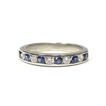 Tiffany & Co. Stamped Platinum Diamond & Sapphire Band