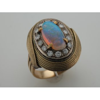 Opal & Diamond Swirl Ring